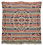 19TH CENTURY OVERSHOT COVERLET in red, blue, and green on a white foundation. Foliate and geometric designs throughout.