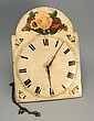 WAG-ON-THE-WALL CLOCK with floral-decorated dial. Height 16