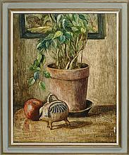 VERNON B. SMITH, American, 1894-1969, Still life of a potted plant and a pottery pig., Oil on board, 30