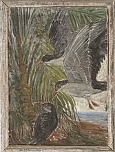 OSCAR H. GIEBERICH, American, b. 1886, Gulls landing, Florida., Oil on canvas, 30