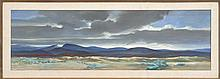 LUMEN MARTIN WINTER, American, 1908-1982, Panoramic Western landscape., Oil on board, 16