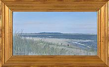 ROBERT E. MOORE, American, 20th Century, Coastal landscape with figures., Oil on panel, 8½
