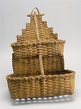 AMERICAN FOLK ART SPLINT WOOD HANGING BASKET With two graduated tiers. Under old yellow paint. Height 19