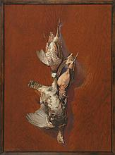 REGINALD FAIRFAX BOLLES, American, 1860-1960, Hanging game, Oil on wood panel, 35¾