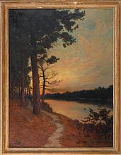 JULIAN WALBRIDGE RIX, American, 1850-1903, Sunlit forest river., Oil on canvas, 42