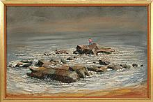 CAPE ANN SCHOOL, Mid-20th Century, A lone fisherman casting into the sea., Oil on canvas, 26