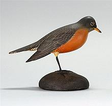 LIFE-SIZE DECORATIVE CARVED ROBIN By A. Elmer Crowell of East Harwich, Massachusetts. Glass eyes. Exceptional painted feather detail...