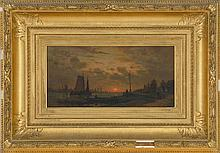 """AUGUSTE PAUL ANASTASI, French, 1820-1889, Continental harbor at sunset., Oil on panel, 8"""" x 16½"""". Period gilt frame."""