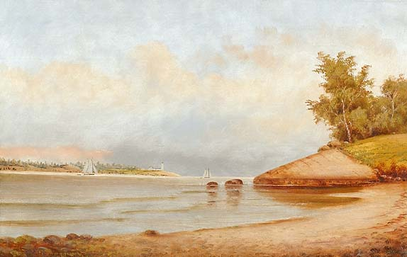 FRAMED PAINTING <br>Scene at a river entrance with lighthouse and shipping. Signed lower left