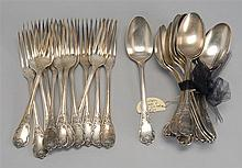 PARTIAL SET OF SILVER PLATED FLATWARE by Christofle. Includes twelve dinner forks and twelve tablespoons.