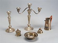 SIX ASSORTED SILVER ITEMS: after dinner coffeepot, mustard jar, candy dish, two candlesticks, and one three-branch candelabrum top....