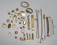 ODD LOT OF ASSORTED GOLD-PLATED JEWELRY. Includes watch fobs, pins, chains & etc.