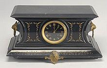 LATE 19TH CENTURY BLACK SLATE MANTEL CLOCK with gilt highlights. Dial marked