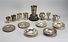 COLLECTION OF FIFTEEN STERLING SILVER TROPHIES. Mostly from the Oyster Harbors Club. In varied forms. Includes one wood trophy base...