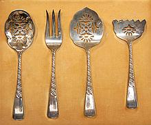 CASED SET OF FOUR STERLING SILVER SERVING PIECES BY GORHAM. Approx. 2.6 troy oz.