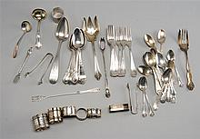 FIFTY-THREE PIECES OF STERLING SILVER AND SILVER PLATED FLATWARE by various makers. Includes thirty-three pieces of sterling silver...