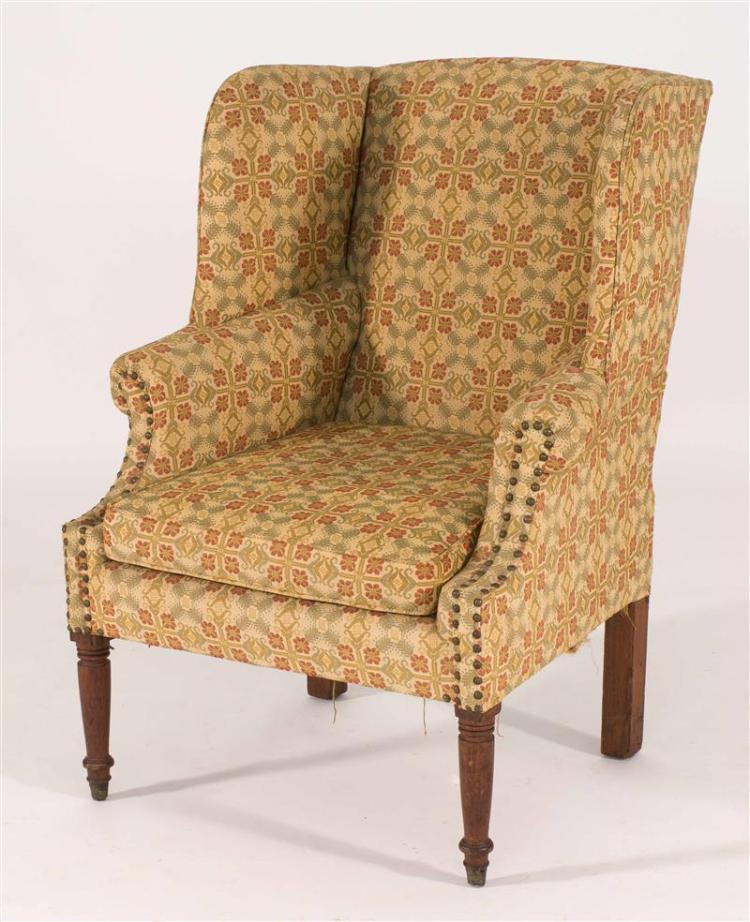 Antique American Sheraton Wing Chair Upholstered In A Floral