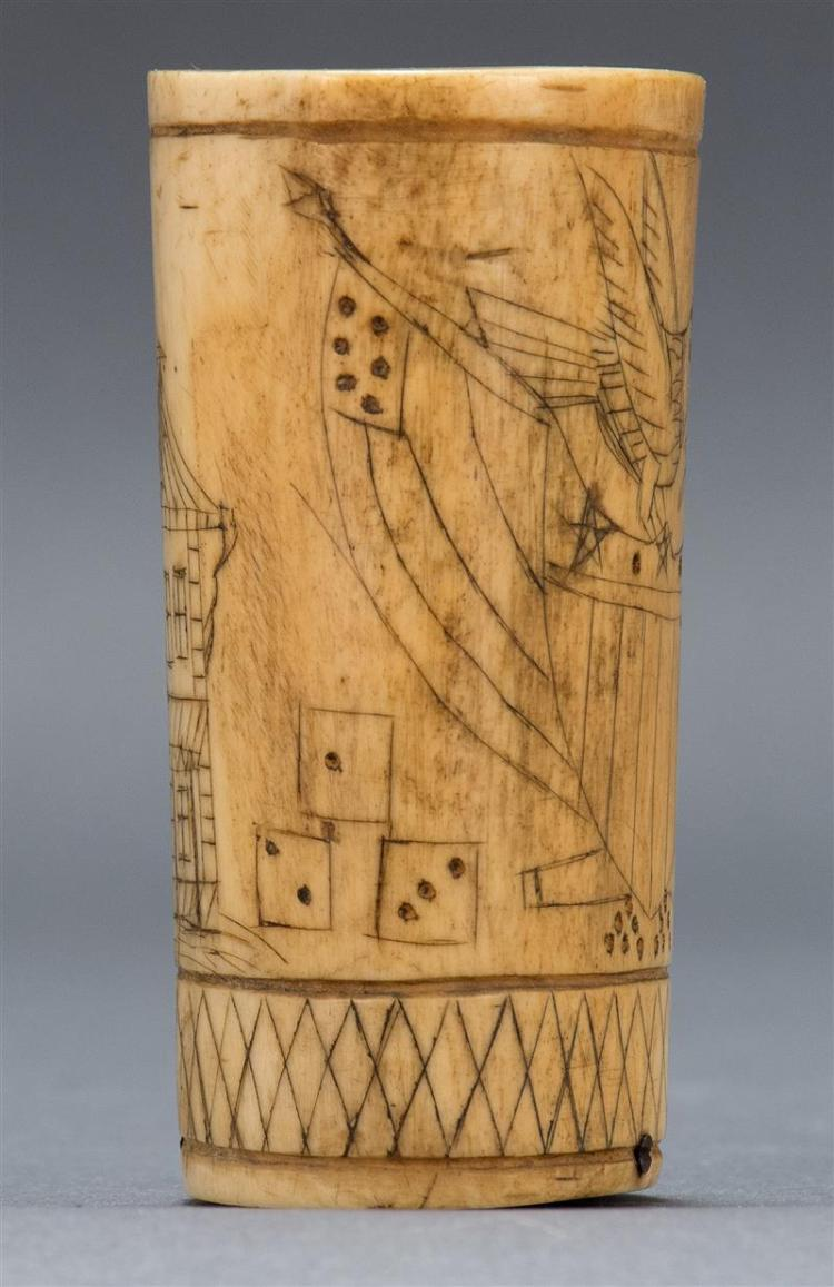 Scrimshaw Bone Dice Shaker Probably Made From Steer Bone And