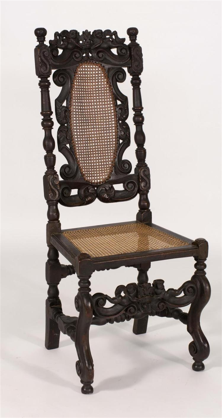 antique english side chair in walnut with cane seat and back. Black Bedroom Furniture Sets. Home Design Ideas