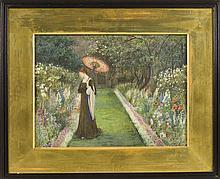 MARIE EUPHROSYNE SPARTALI STILLMAN, English, 1844-1927, Lady with a parasol in a garden., Watercolor, 11