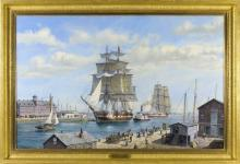 """ROY CROSS, English, Contemporary, """"Boston Liverpool Packet Parliament in Boston Harbor""""., Oil on canvas, 32"""" x 50"""". Framed 39"""" x 57""""."""