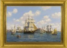 "ROY CROSS, English, Contemporary, ""1806 Friendship Sloop Entering Salem Harbor""., Oil on canvas, 24"" x 36"". Framed 31.5"" x 42.5""."