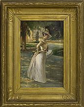 """ATTRIBUTED TO LOUIS L. BETTS, American, 1873-1961, A woman in a sunlit garden., Oil on canvas, 22"""" x 14"""". Framed 26"""" x 34""""."""