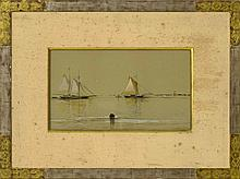 """FRANCIS AUGUSTUS SILVA, New York, 1835-1886, Yachts off a coast., Watercolor on paper, 9.5"""" x 16"""" sight. Framed 20"""" x 27""""."""