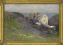 """EDWARD A. PAGE, Massachusetts, 1850-1928, Houses by the sea., Oil on board, 9.5"""" x 13.5"""". Framed 11.5"""" x 15.5""""."""