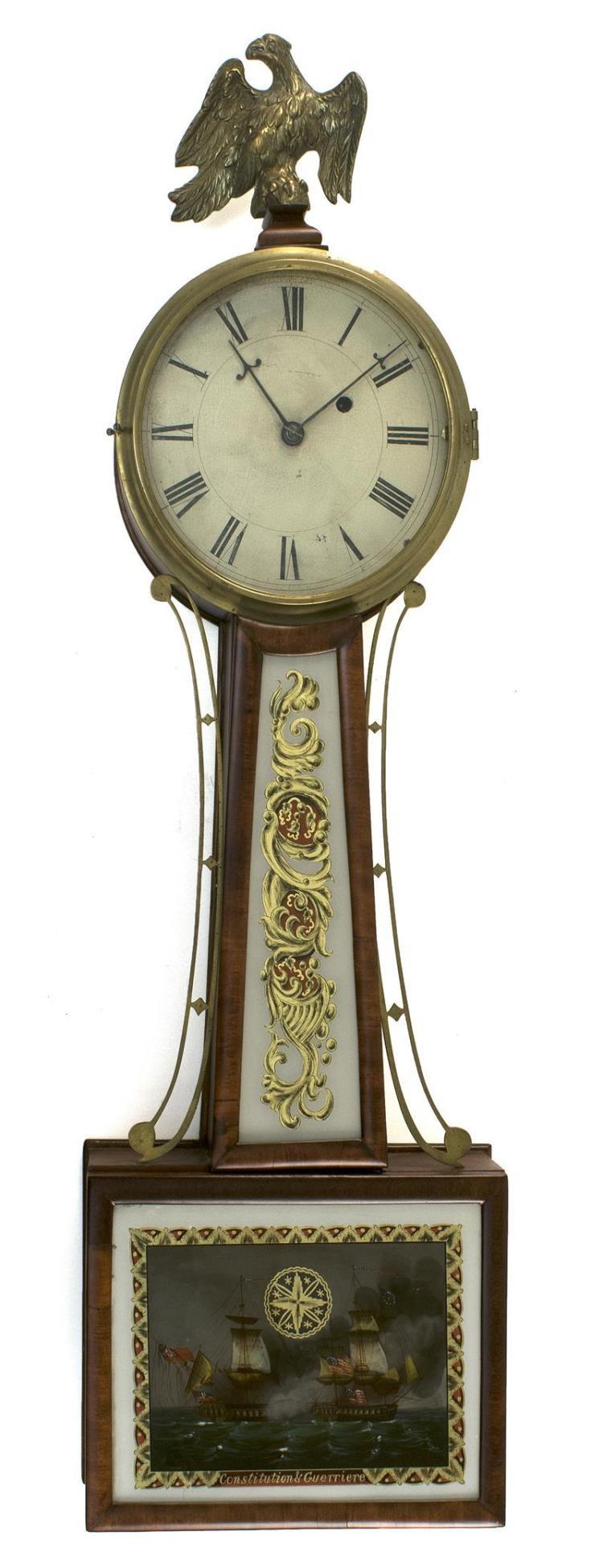 BANJO CLOCK ATTRIBUTED TO AARON WILLARD Mahogany and mahogan
