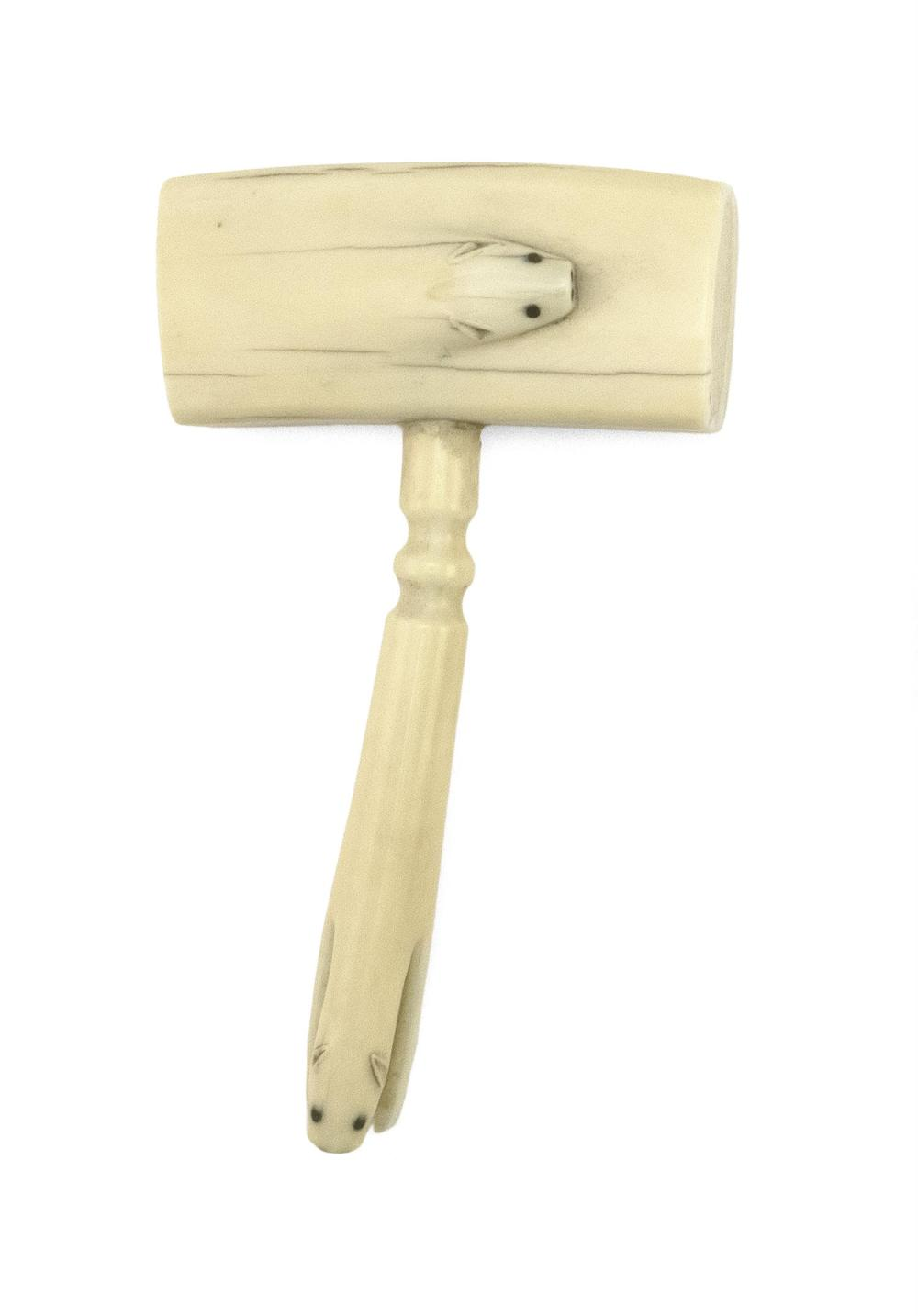 ESKIMO CARVED WALRUS IVORY MALLET Mallet head with a relief-carved stylized polar bear. Handle terminates in a polar bear with its a...