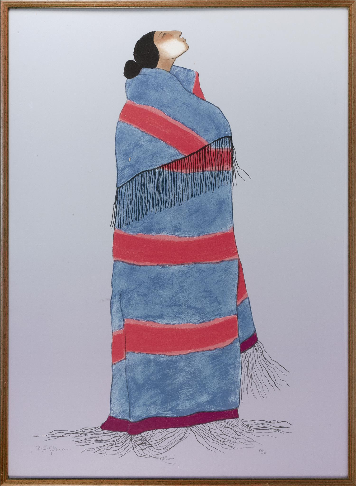"""R.C. GORMAN, New Mexico/Arizona/California, 1931-2005, """"Carol's Blanket State II"""",, Lithograph on Arches paper, 40"""" x 50"""". Framed 48.."""