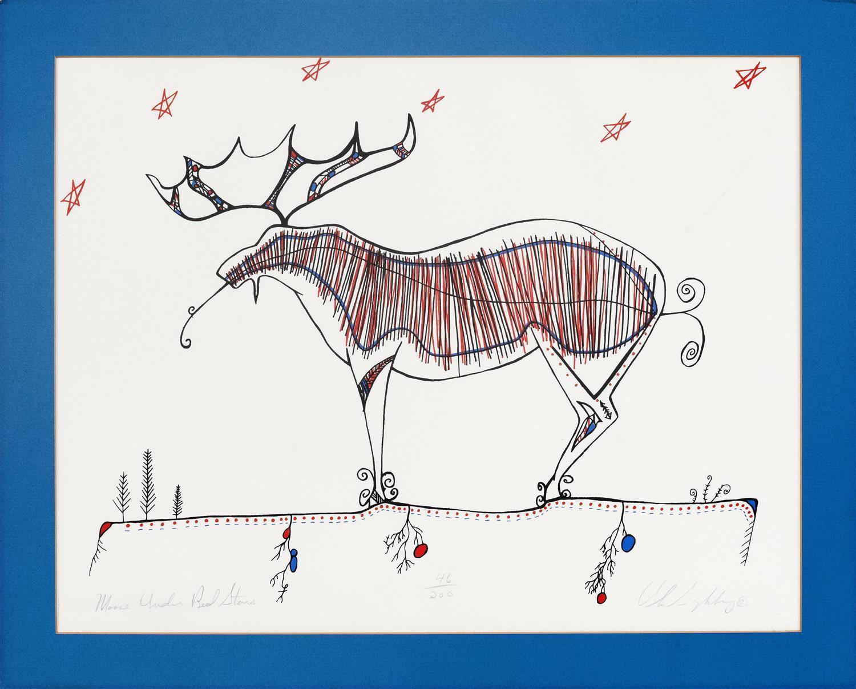 "ALAN SYLIBOY, Nova Scotia, b. 1952, ""Moose Under Red Stars""., Serigraph on paper, 13"" x 15"". Matted 16"" x 20""."
