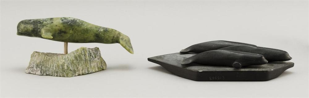 TWO STONE CARVINGS A green stone narwhal, height 3.75