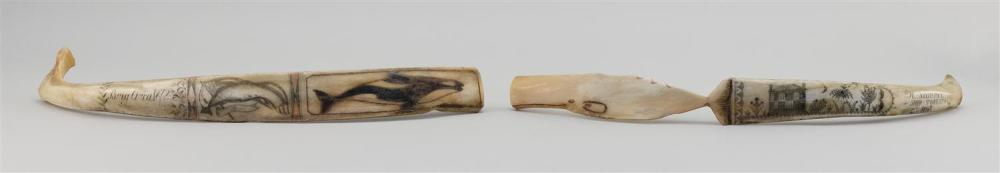 "TWO ESKIMO ENGRAVED ANIMAL RIB BONES One engraved ""Brig Orca. 1872"" and with a whale backed by an American flag. Other carved in the..."