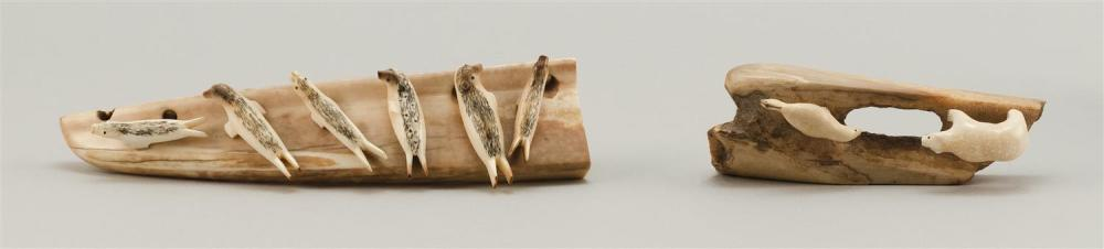 TWO ESKIMO PETRIFIED WALRUS IVORY CARVINGS One with a seal and a polar bear, length 5.25