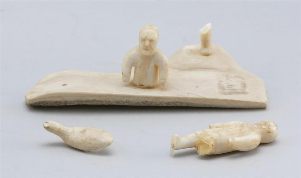 THIRTEEN ESKIMO WALRUS IVORY AND NUT MINIATURE CARVINGS In the forms of assorted Arctic figures. Heights from .5