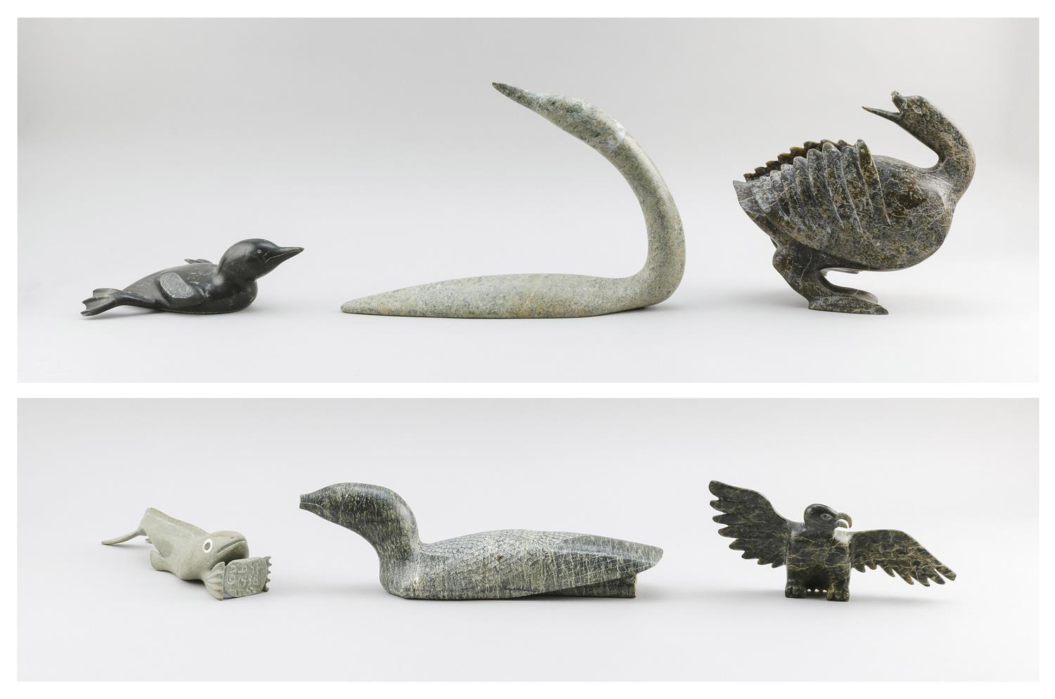 "SIX ESKIMO STONE CARVINGS, ALL WITH DAMAGE OR REPAIRS A loon, length 14"", two sea ducks, lengths 9"" and 12"", a fish creature, length..."
