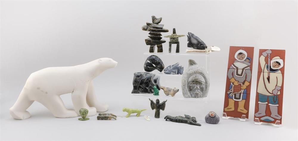 ASSORTED ESKIMO AND NATIVE AMERICAN ODDMENTS Includes two tiles depicting Eskimos, two fish carvings, a carving of a bear catching s...