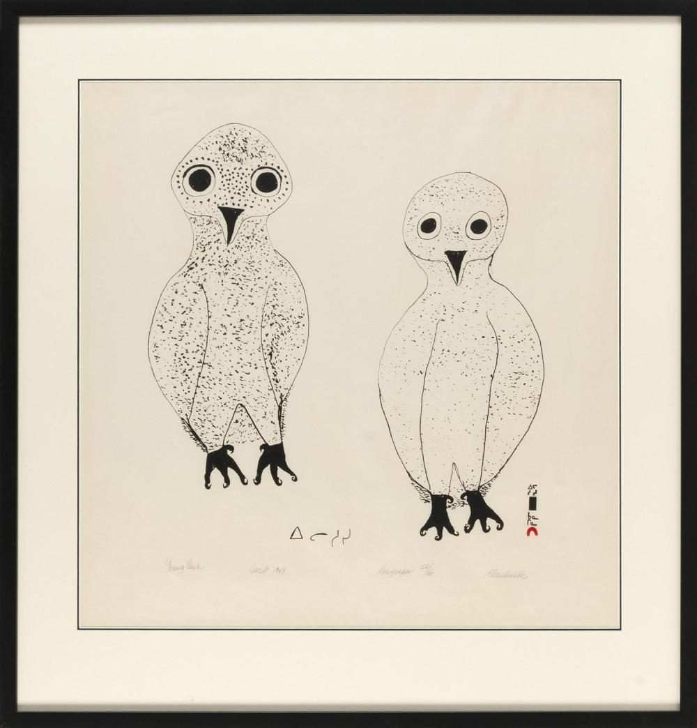 "ELEESHUSHE PARR, Inuit, Cape Dorset, Canada, 1896-1975, ""Young Owl"", 1969., Serigraph on paper, 23"" x 23"" sight. Framed 30.75"" x 29...."
