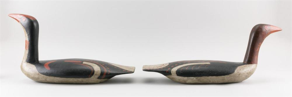 PAIR OF NORTHWEST COASTAL-STYLE DECOYS BY BOB BIDDLE Original paint with minor wear. Lengths 20.5
