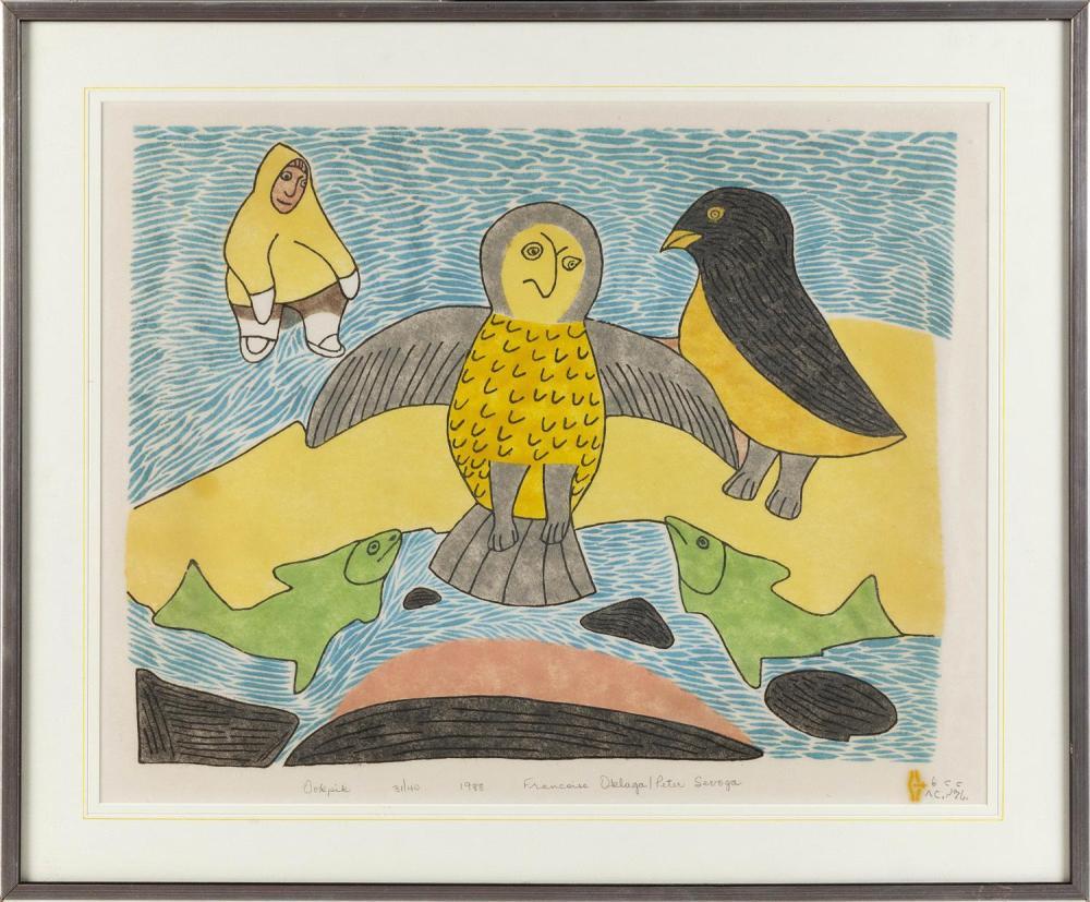 """FRANCOISE OKLAGA, Canada, 1924-1991, Ookdik, 1988., Stencil and woodcut, 16.5"""" x 21"""". Framed 21"""" x 25.5""""."""