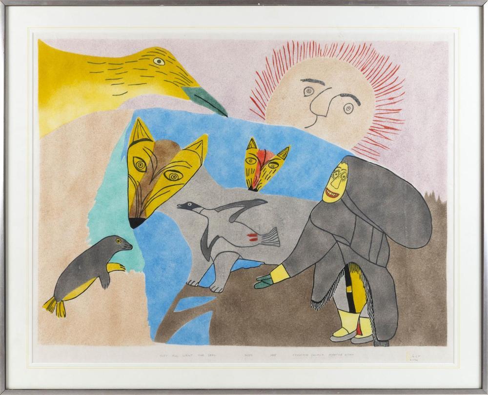 "FRANCOISE OKLAGA AND MARTHA NOAH, Canada, 20th Century, They All Want The Seal, 1988., Woodcut and stencil, 23.5"" x 30.5"". Framed 28..."