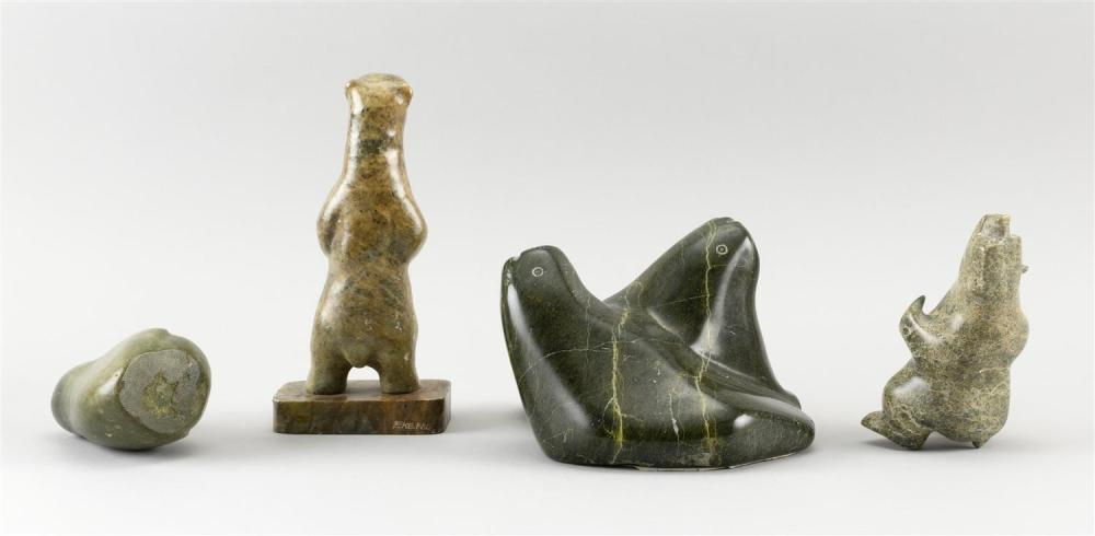 FOUR INUIT ESKIMO SOAPSTONE CARVINGS Two bears, a bird and two walruses carved as one. Heights from 4
