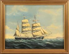 """SALVATORE COLACICCO (Italy/England/Canada, b. 1935), Side view of a whaleship, with figures visible on deck and land off her bow., Oil on canvas, 18"""" x 24"""". Framed 21.5"""" x 27.5""""."""