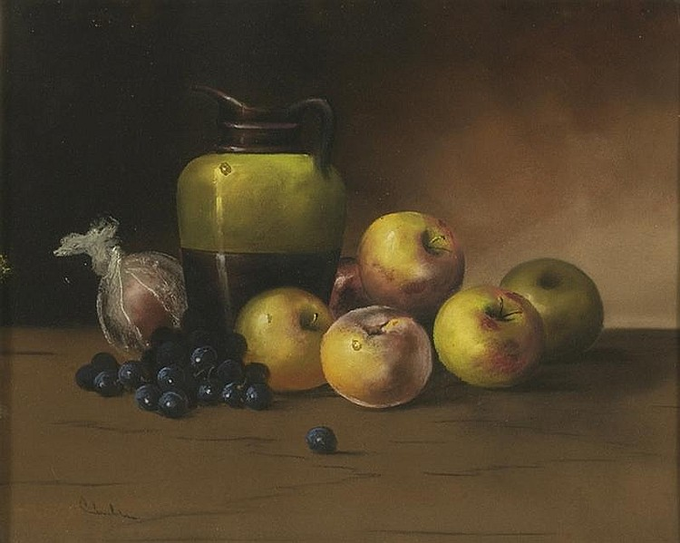 ATTRIBUTED TO WILLIAM HENRY CHANDLER, American, 1854-1928, Still life with jug, apples, and blueberries., Pastel, 15½