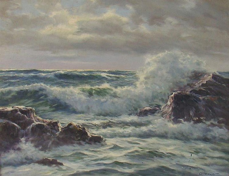 LASZLO DE NAGY, Provincetown, MA, 1903-1977, Waves on a rocky coast, Oil on canvas, 20