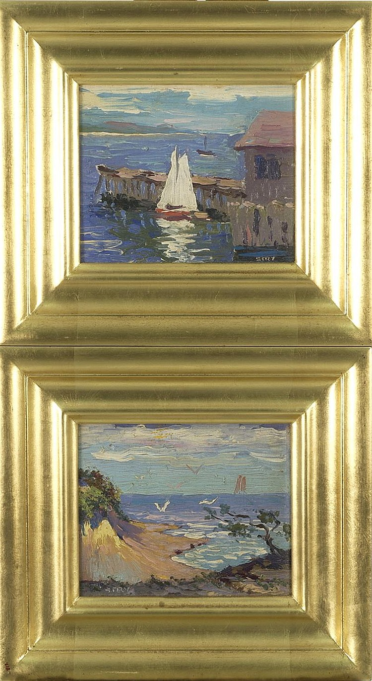 IRENE STRY, American, 20th Century, Pair of coastal landscapes., Oil on board, 5