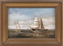 "JOHN INGERSOLL COGGESHAL (Massachusetts, 1856-1927), Ships off the coast., Oil on canvas, 8"" x 12"". Framed 11.25"" x 15.75""."