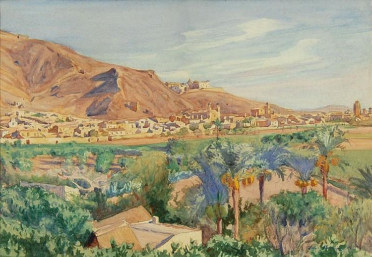 DODGE MACKNIGHT, American, 1860-1950, Orihuelia from a Distance, Watercolor on paper, 15